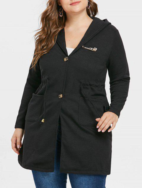 Plus Size Waist Drawstring Long Coat - BLACK L