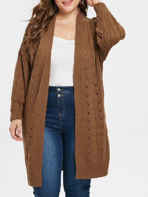 Collarless Plus Size Openwork Longline Cardigan - BROWN ONE SIZE