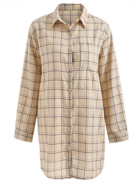 Button Up Pocket Plaid Shirt Dress - multicolor M