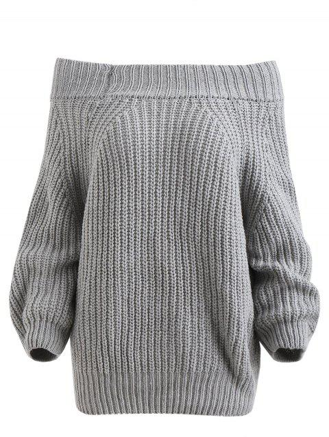 Chunky Off The Shoulder Pullover Sweater - GRAY ONE SIZE