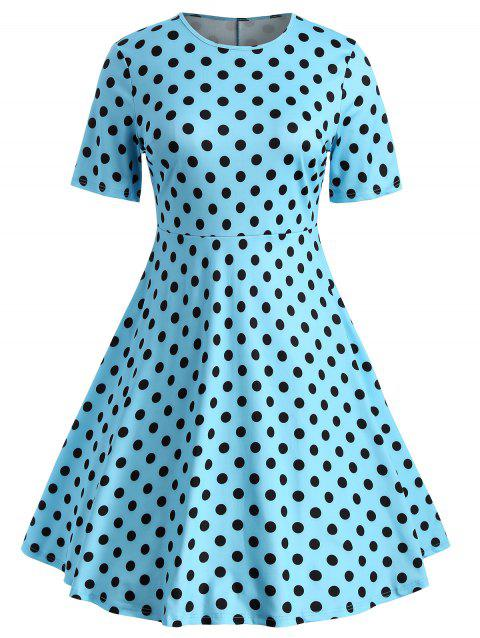 Plus Size Polka Dot Print Dress - DAY SKY BLUE 3X