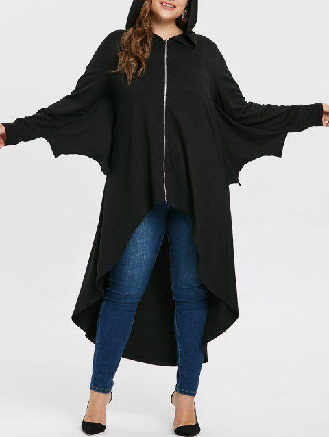 Plus Size Batwing Sleeve Asymmetrical Halloween Coat - BLACK 1X