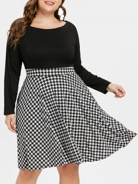 a1f743af2aa LIMITED OFFER  2019 Houndstooth Pattern Plus Size High Waist Dress ...
