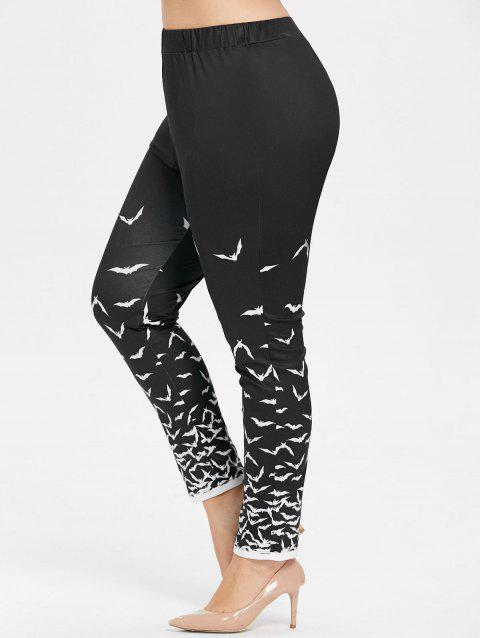 Halloween Plus Size Bat Print Leggings - BLACK 2X