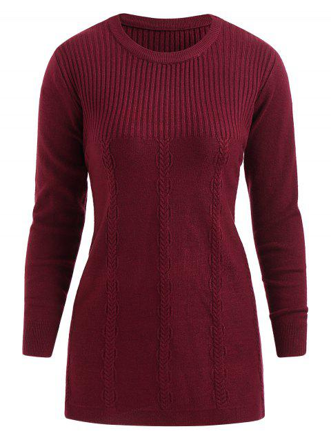 Cable Knit Plus Size Round Neck Pullover Sweater - RED WINE 4X
