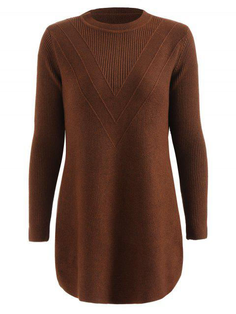 Round Neck V Shape Plus Size Sweater Dress - BROWN 3X