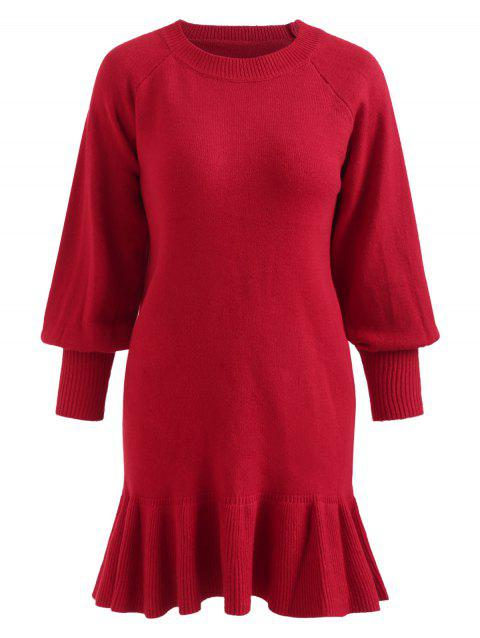 Lantern Sleeve Plus Size Flounce Panel Dress - RED 3X