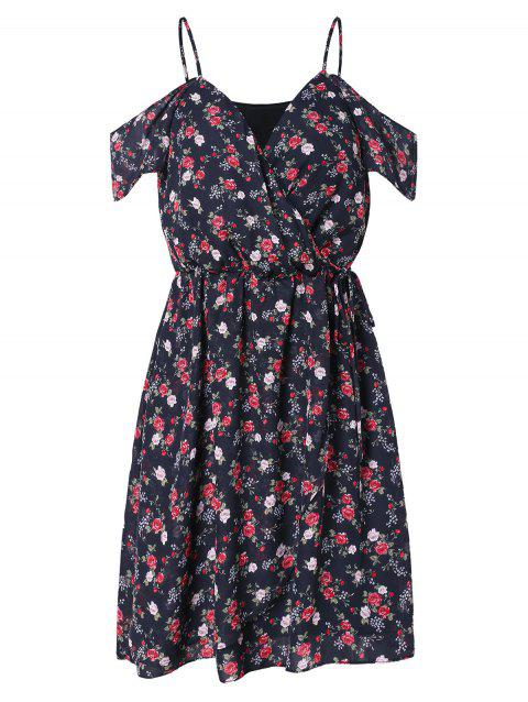 Cut Out Shoulder Tiny Floral Surplice Dress - BLACK L