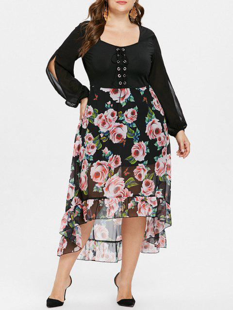 Plus Size Lace Up Floral High Low Maxi Dress - BLACK 1X