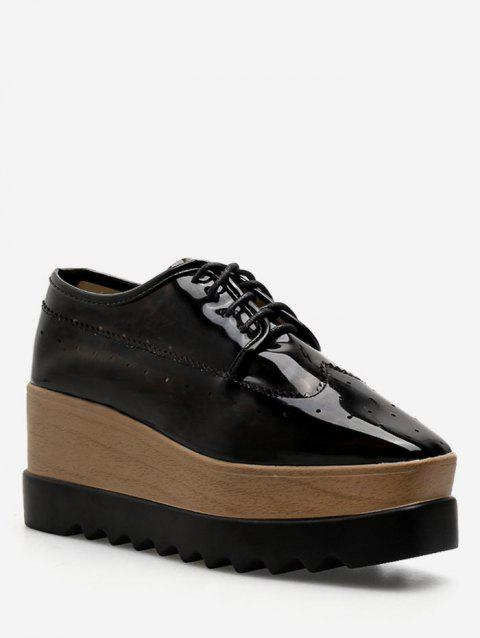Square Toe Platform Wingtip Sneakers - BLACK EU 37