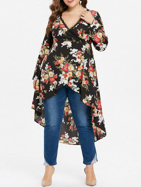 Plus Size Asymmetrical Floral Surplice Blouse - BLACK 5X
