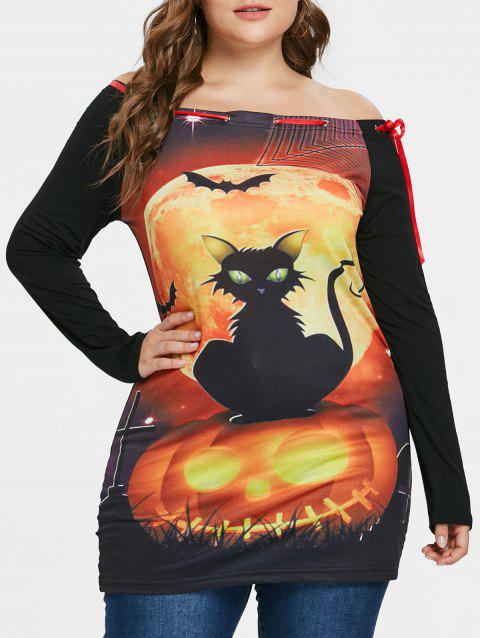 Plus Size Off Shoulder Printed Halloween Tunic T-shirt