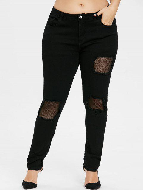 Plus Size Fishnet Distressed Jeans - BLACK L