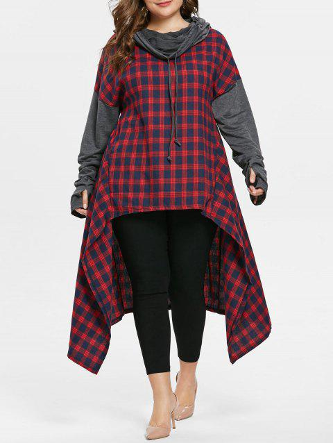 Plus Size Long Sleeve Plaid Hooded Hoodie - RED 3X