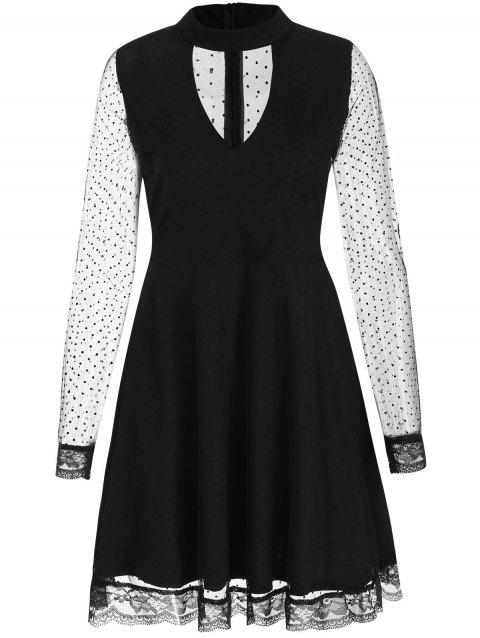 See Thru Mesh Skater Dress - BLACK S