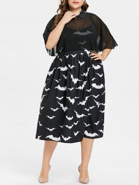 Halloween Plus Size Bat Print Capelet Dress - BLACK 1X