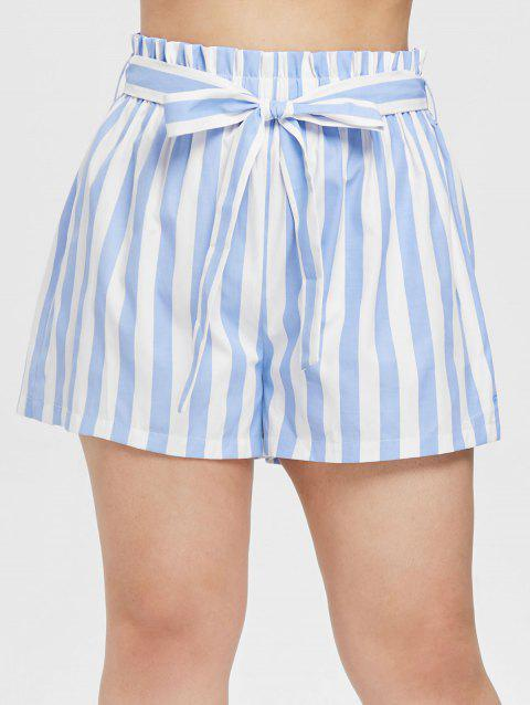 Plus Size Striped Belted Shorts - LIGHT BLUE 3X