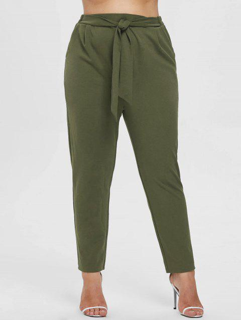 17 Off 2018 Plus Size Knot Elastic Waist Pants In Army Green 4x