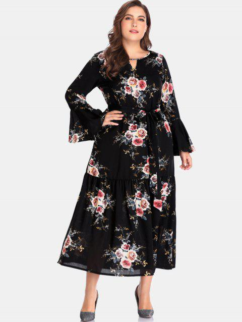 2018 Floral Long Sleeve Plus Size Dress In Black 5x Dresslily