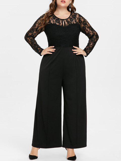 ccb051268df LIMITED OFFER  2019 Keyhole Neck Plus Size Lace Panel Jumpsuit In ...