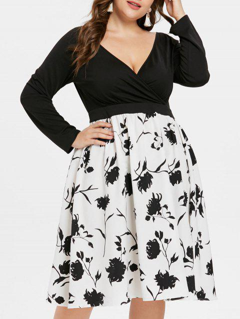 Plus Size Long Sleeve Floral Tea Length Dress - BLACK 3X