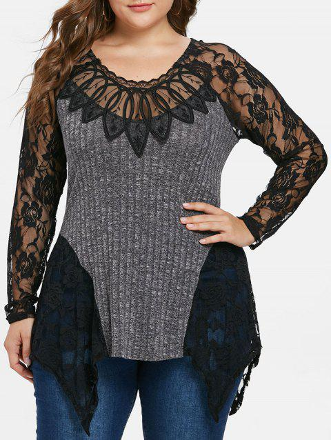 Plus Size Lace Panel Asymmetrical Knit Top - GRAY 4X