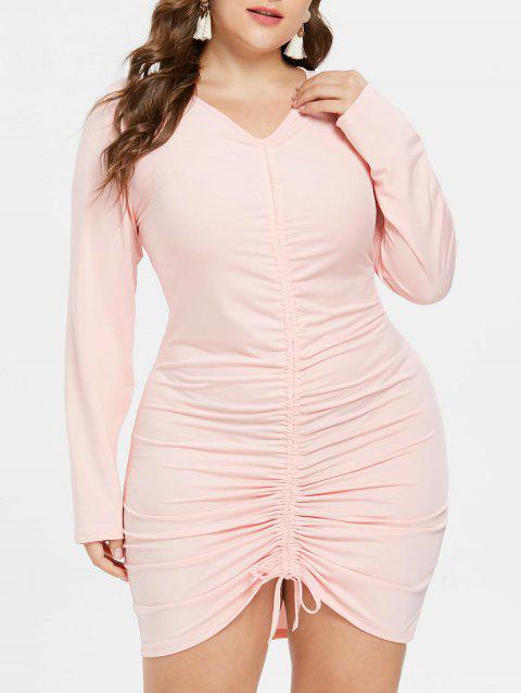 Plus Size V Neck Ruched Dress - SAKURA PINK L