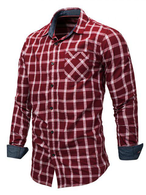 Chest Pocket Checked Print Shirt - RED 3XL