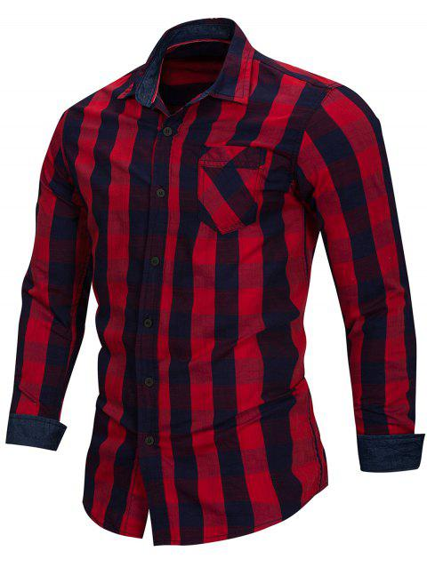 Casual Checked Print Long Sleeve Shirt - RED 2XL