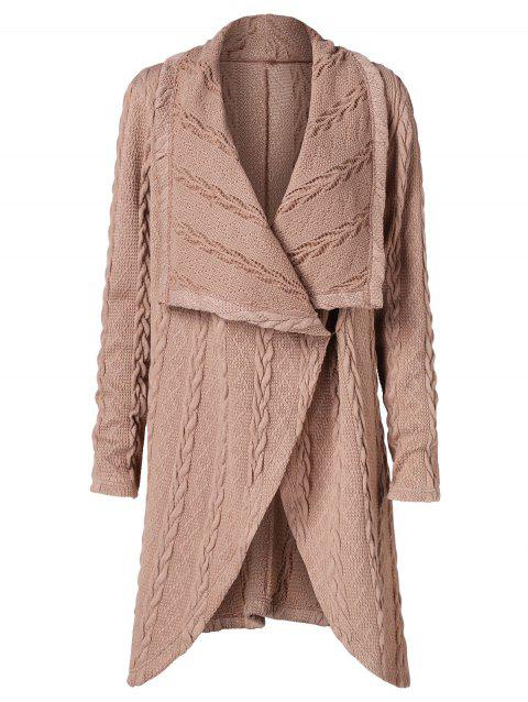 Draped Collar Long Cable Knit Cardigan - CAMEL BROWN 2XL