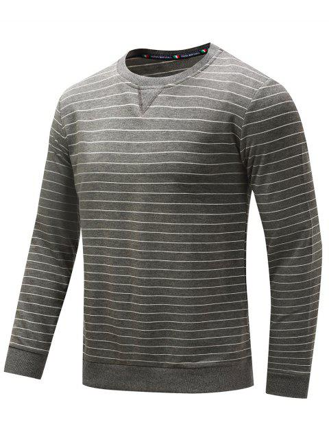Crew Neck Striped Cotton T-shirt - GRAY L