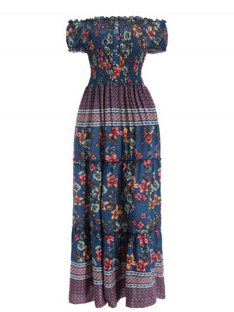 Floral Print Smocked Maxi Dress - multicolor XL