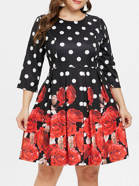 Plus Size Rose Print A Line Dress