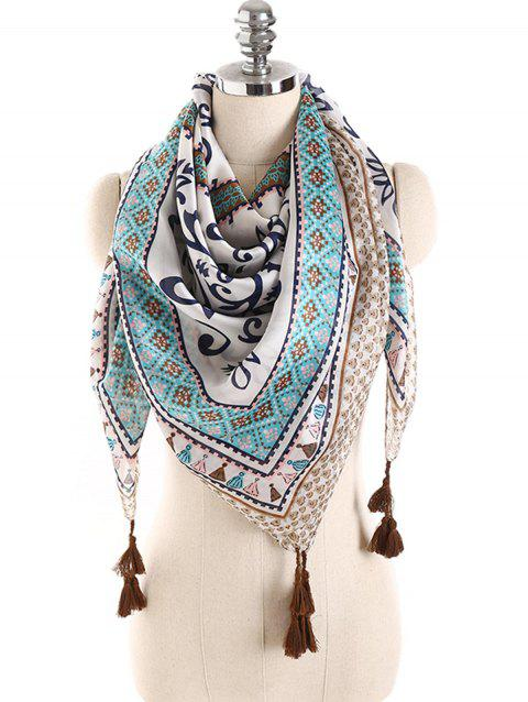 Stylish Dreamy Printed Fringed Long Scarf - PALE BLUE LILY