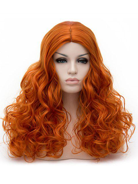 Long Middle Part Curly Synthetic Party Cosplay Wig - PUMPKIN ORANGE
