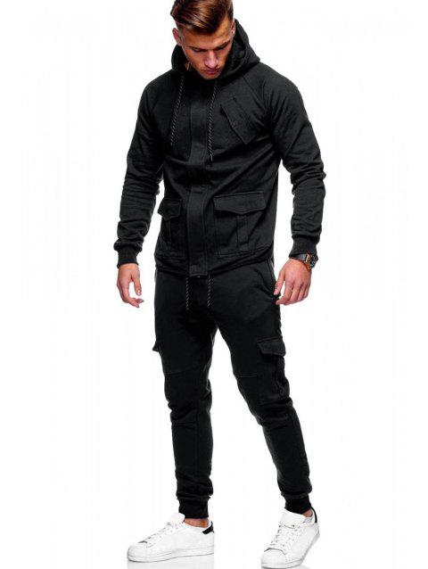 Hidden Zipper Hoodie and Multi-pocket Pants - BLACK XS