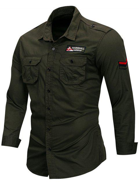 Applique Epaulet Design Long Sleeve Shirt - GREEN 3XL