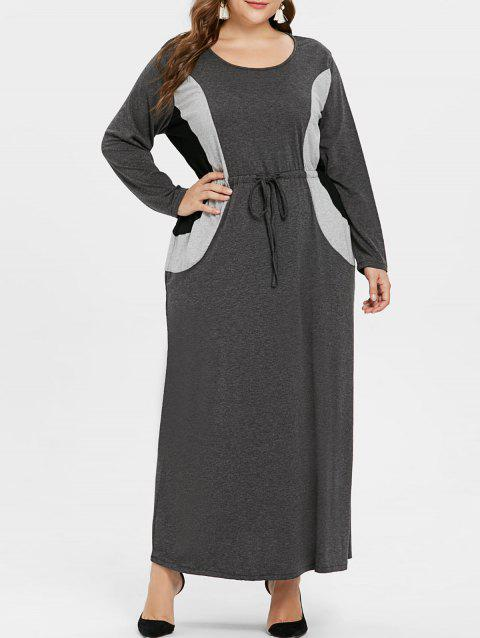 e1db2ce856949 31% OFF  2019 Plus Size Long Sleeve Drawstring Maxi Dress In DARK ...