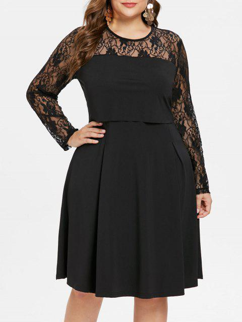 ab342e9bc83 17% OFF  2019 Lace Long Sleeve Plus Size A Line Dress In BLACK 3X ...