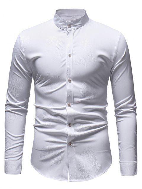 Paisley Print Slim Fit Shirt - WHITE L