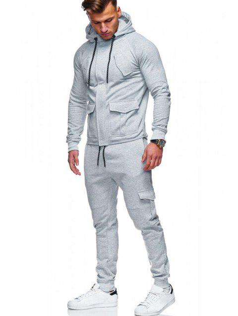 Hidden Zipper Hoodie and Multi-pocket Pants - LIGHT GRAY XS