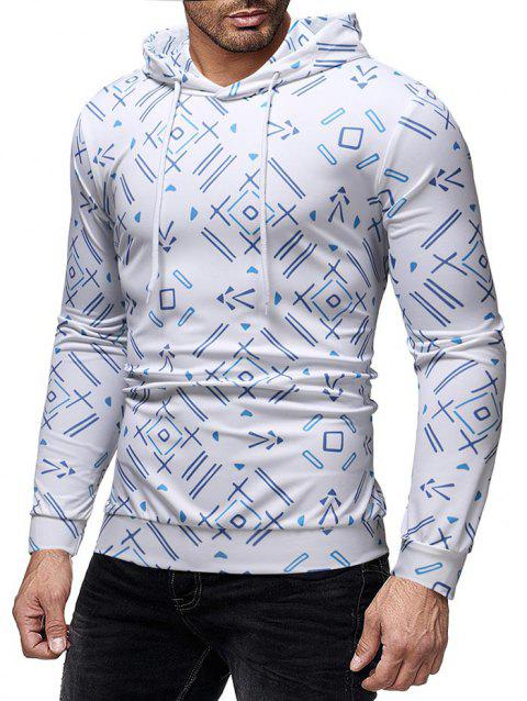Allover Geometric Printed Pullover Hoodie - WHITE 2XL