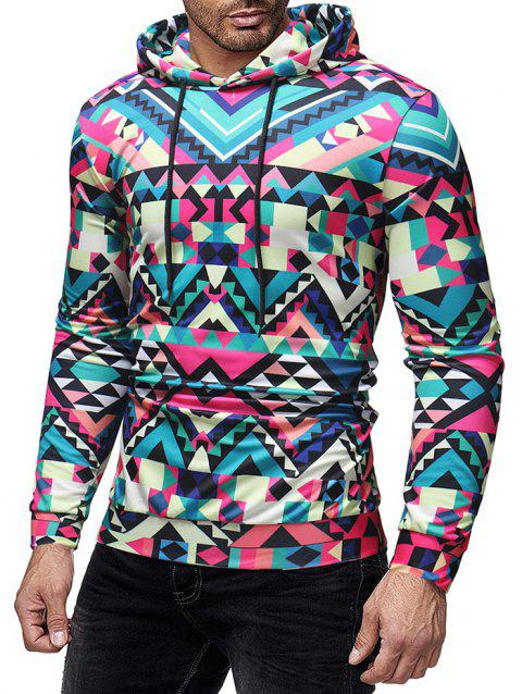 Colorized Geometric Printed Pullover Hoodie - multicolor XL