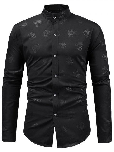 Stand Collar Floral Print Long Sleeve Shirt - BLACK XL