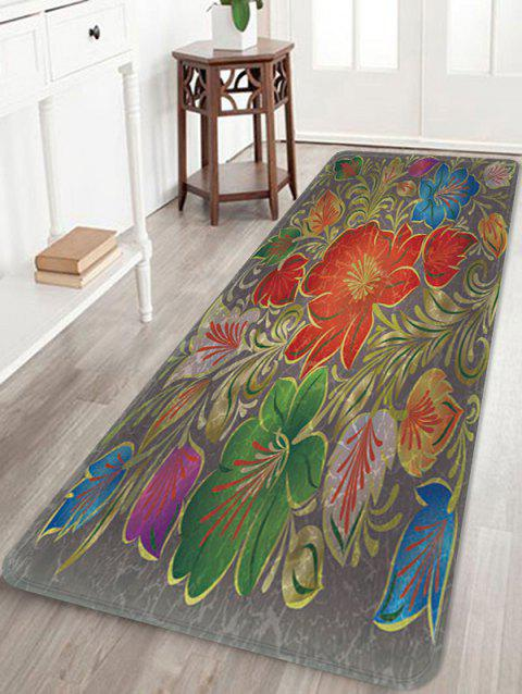 Vintage Flowers Pattern Anti-skid Flannel Area Rug - multicolor W24 X L71 INCH