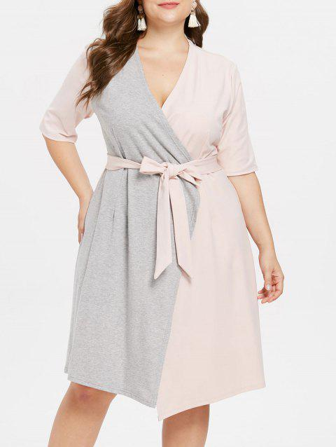 Plus Size Color Block Dress with Belt - PINK BUBBLEGUM 3X