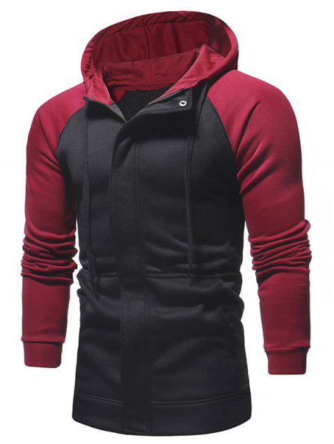 Raglan Sleeve Covered Zipper Hoodie - BLACK XS