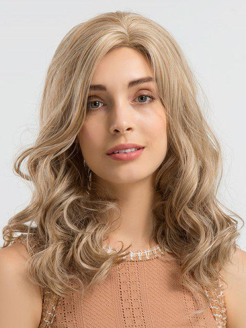 Long Length Inclined Bang Wavy Synthetic Wig - TAN