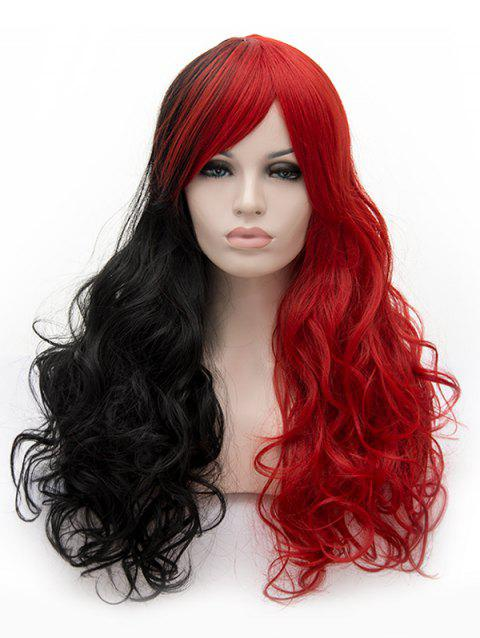 Long Inclined Bang Two Tone Curly Anime Cosplay Synthetic Wig - multicolor B