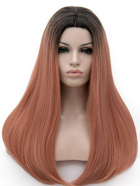 Long Middle Part Colormix Straight Cosplay Party Synthetic Wig - multicolor F